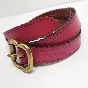 Fossil Scallop Edge Leather Belt
